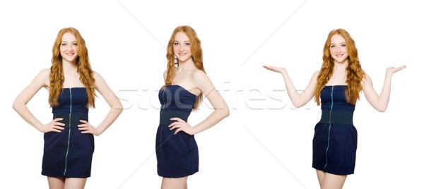 Vrouw mode kleding gelukkig Blauw pak Stockfoto © Elnur