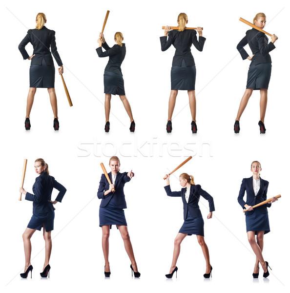 Businesswoman with baseball bat on white Stock photo © Elnur