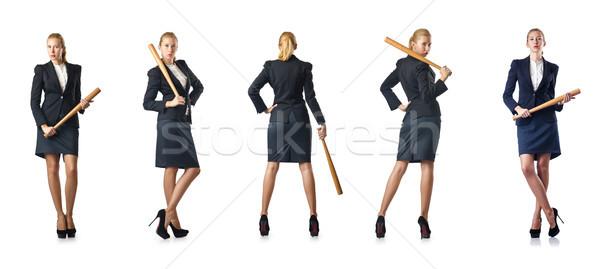 The businesswoman with baseball bat on white Stock photo © Elnur