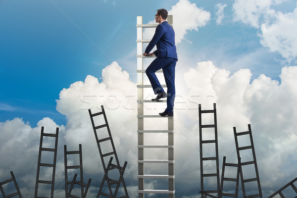 The career concept with businessman climbing ladder Stock photo © Elnur
