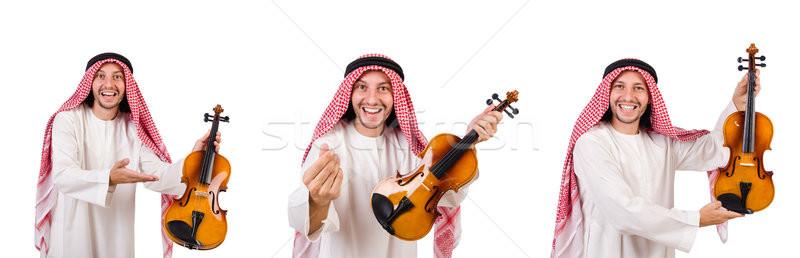 アラブ 男 演奏 白 手 背景 ストックフォト © Elnur