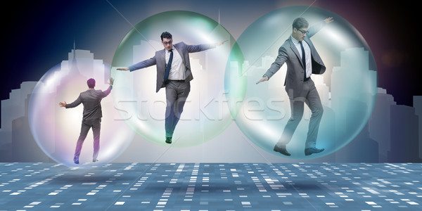 Stock photo: Businessman flying inside the bubble