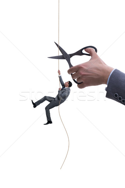 Stock photo: Hand cutting rope in business risk concept
