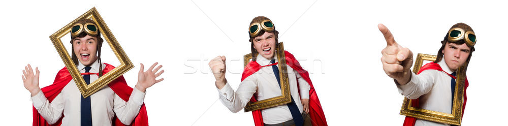 Funny héroe aislado blanco marco guerra Foto stock © Elnur
