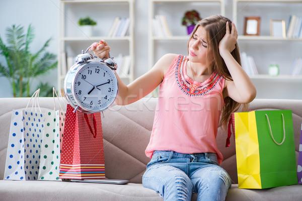 若い女性 ショッピングバッグ ホーム ソファ 女性 ストックフォト © Elnur