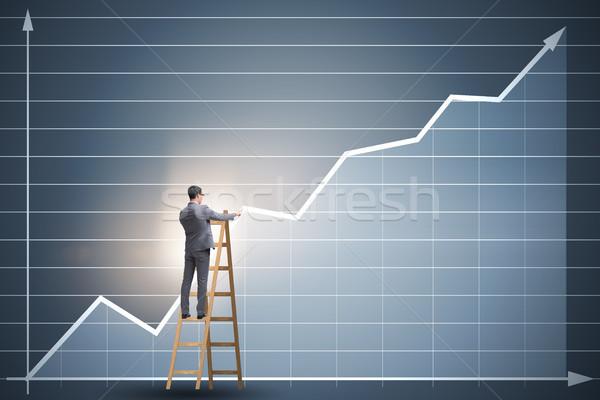 Zakenman tekening charts permanente ladder business Stockfoto © Elnur