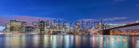 Gece görmek Manhattan köprü gökyüzü Bina Stok fotoğraf © Elnur