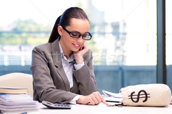 üzletasszony pénz zsák táska iroda boldog Stock fotó © Elnur