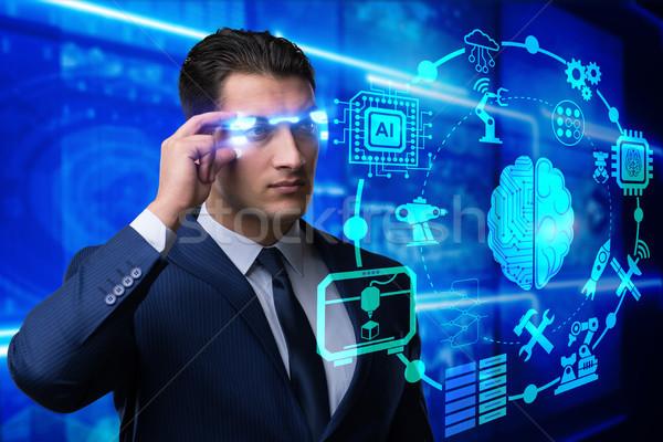 Mesterséges intelligencia üzletember számítógép internet technológia hálózat Stock fotó © Elnur