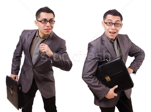 Joven maletín aislado blanco negocios Foto stock © Elnur