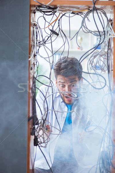 Elektryk przewody naprawy człowiek pracy pracy Zdjęcia stock © Elnur