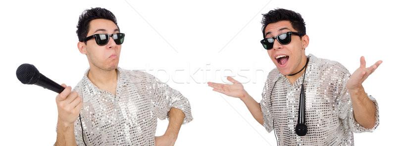 Man geïsoleerd blanke man witte gelukkig microfoon Stockfoto © Elnur