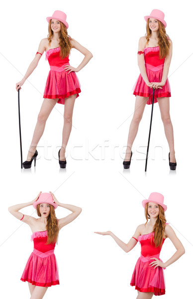 Joli jeunes mini rose robe isolé Photo stock © Elnur