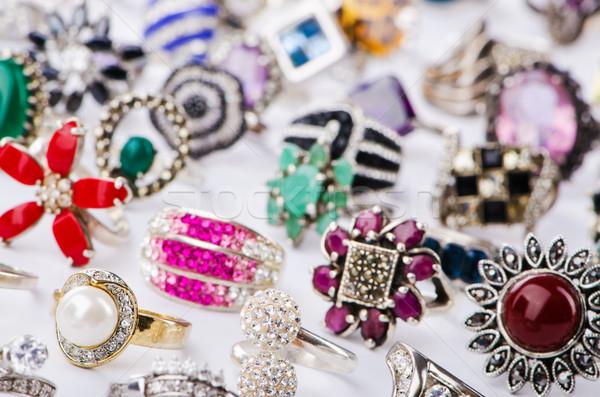 Collectie sieraden ringen witte bruiloft metaal Stockfoto © Elnur