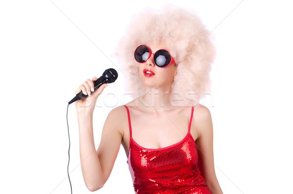 Zdjęcia stock: Pop · star · biały · szczęśliwy · włosy · mikrofon