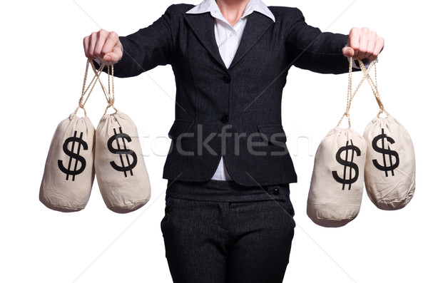 Woman with sacks of money on white Stock photo © Elnur