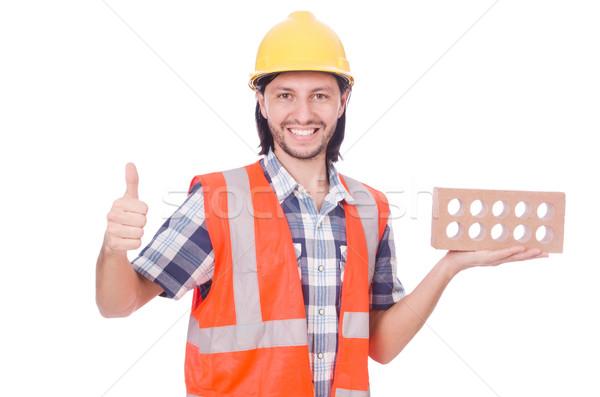 Stock fotó: építész · agyag · téglák · izolált · fehér · férfi