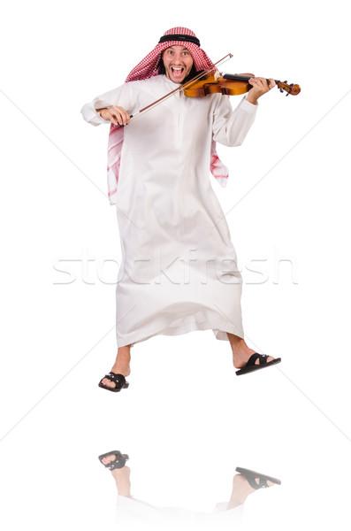 Stock fotó: Arab · férfi · játszik · fehér · zene · kéz