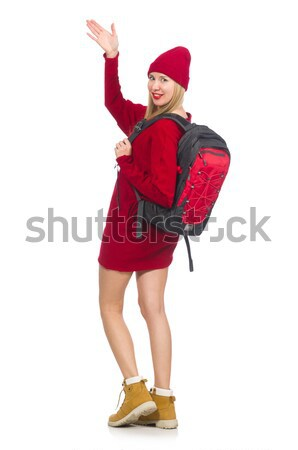 Young woman in red santa costume on white Stock photo © Elnur