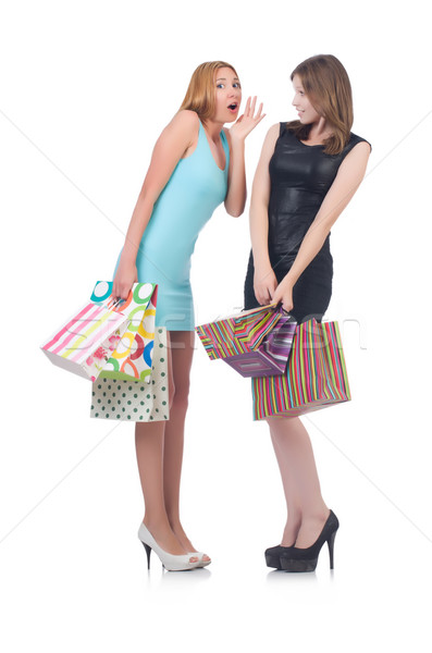 Girls after good shopping on white Stock photo © Elnur