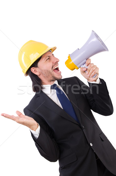 Man with helmet and loudspeaker on white Stock photo © Elnur