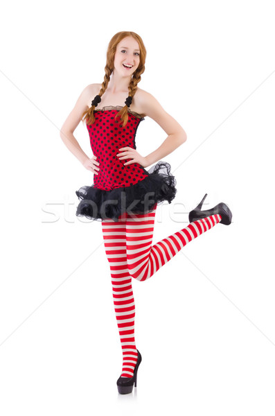 Redhead girl in red dress and stockings on white Stock photo © Elnur