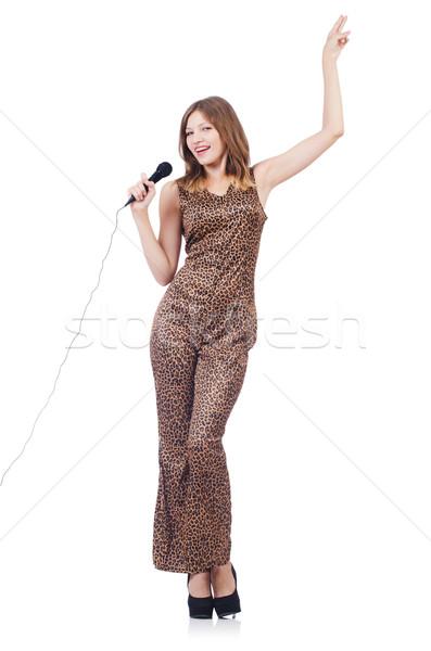 Nő énekes mikrofon fehér buli haj Stock fotó © Elnur