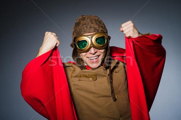 Grappig piloot stofbril helm man mode Stockfoto © Elnur