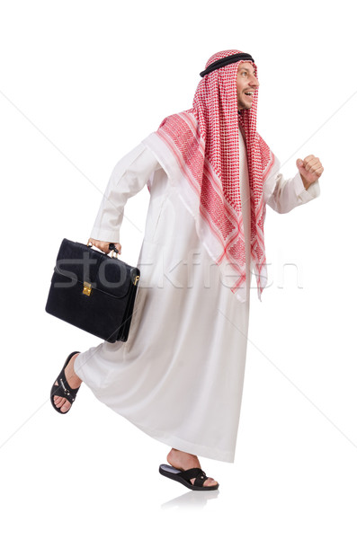1e21cbe2d51 Arab businessman with briefcase isolated on white Stock photo © Elnur