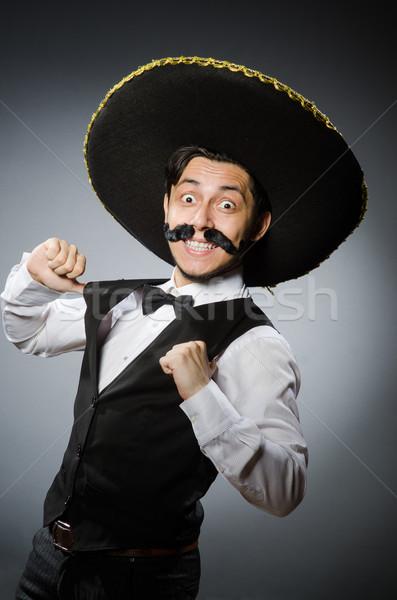 Foto stock: Mexicano · hombre · funny · cara · feliz · retro