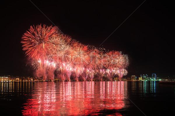 Vuurwerk Azerbeidzjan dag licht nacht skyline Stockfoto © Elnur