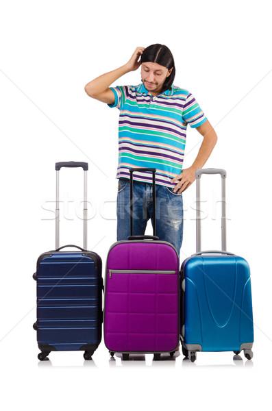 Podróży wakacje bagażu biały szczęśliwy tle Zdjęcia stock © Elnur