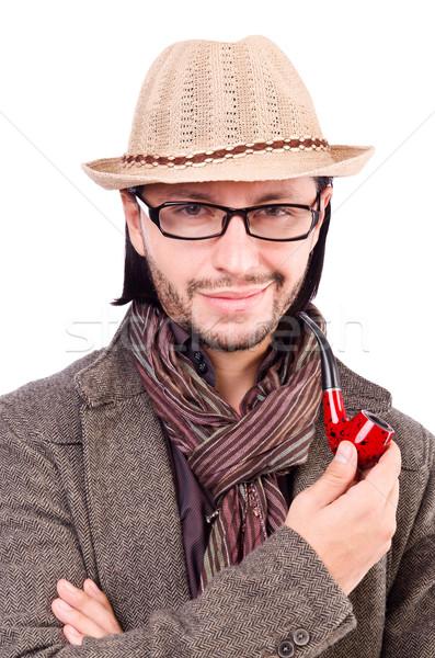 Jeunes détective pipe loupe oeil visage Photo stock © Elnur