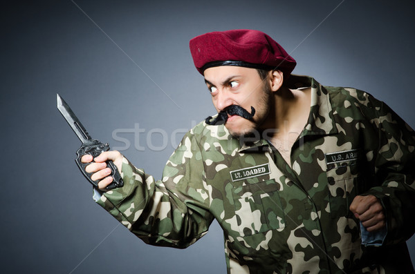 смешные солдата темно человека зеленый войны Сток-фото © Elnur