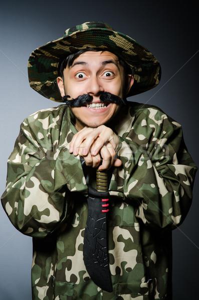 Funny Soldat dunkel Mann grünen Krieg Stock foto © Elnur