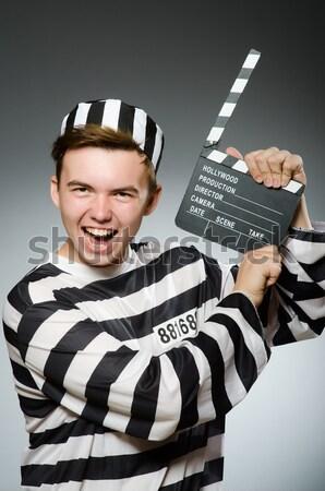 Vicces börtön bennlakó fegyver kéz rendőrség Stock fotó © Elnur