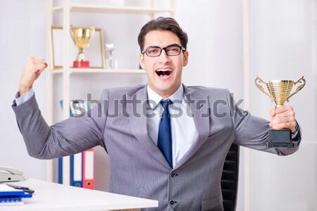 Divertente imprenditore ax bianco ufficio sorriso Foto d'archivio © Elnur