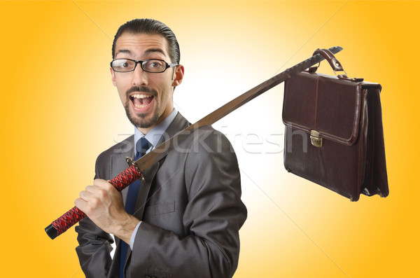 бизнесмен меч белый человека фон корпоративного Сток-фото © Elnur