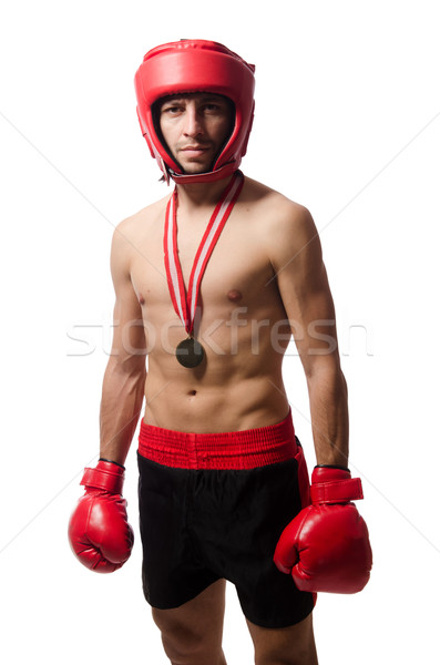 Funny boxeador aislado blanco mano fitness Foto stock © Elnur
