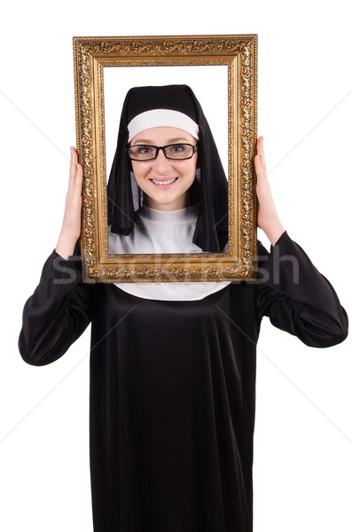 Young nun with frame isolated on white Stock photo © Elnur