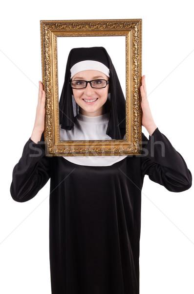 Młodych zakonnica ramki odizolowany biały tekstury Zdjęcia stock © Elnur