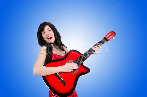 Young singer guitar on white Stock photo © Elnur