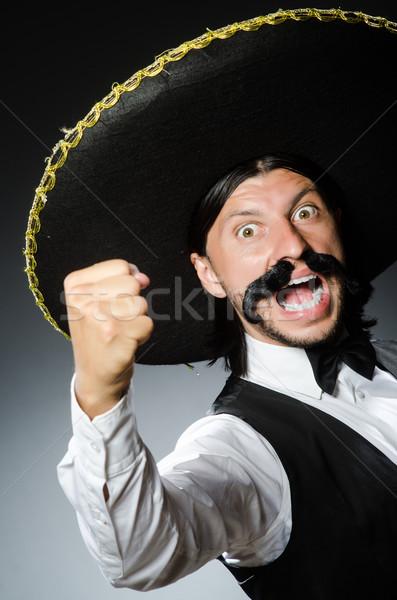 Divertente mexican sombrero felice retro bianco Foto d'archivio © Elnur