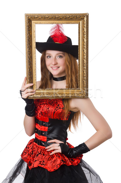 Woman pirate with picture frame isolated on white Stock photo © Elnur