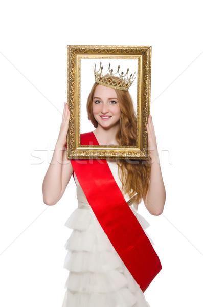Stock fotó: Szépség · vetélkedő · nyertes · izolált · fehér · nő