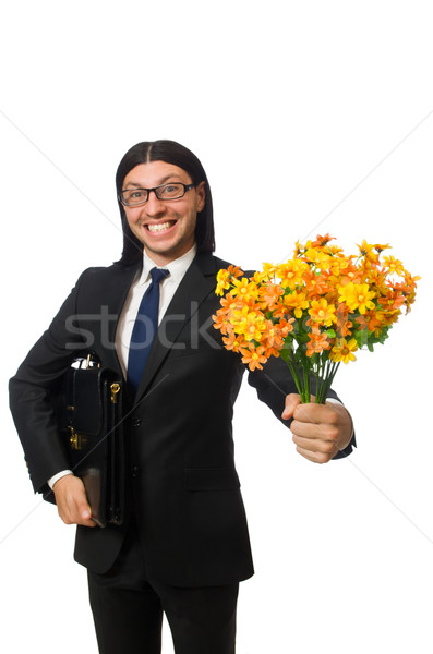 Handsome businessman with flower and brief case isolated on white Stock photo © Elnur