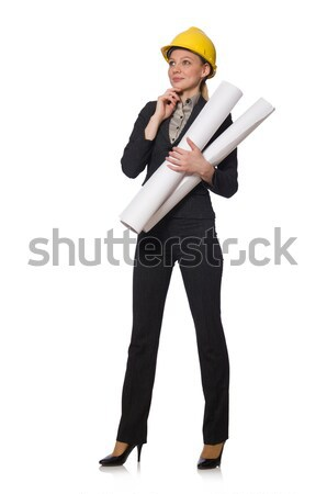 Woman engineer with draft papers Stock photo © Elnur