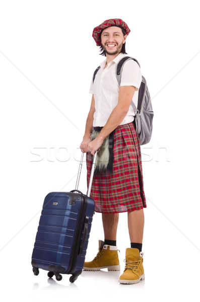Man in scottish skirt with suitcase isolated on white Stock photo © Elnur