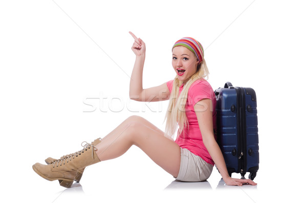 Young tourist with suitcases isolated on white Stock photo © Elnur
