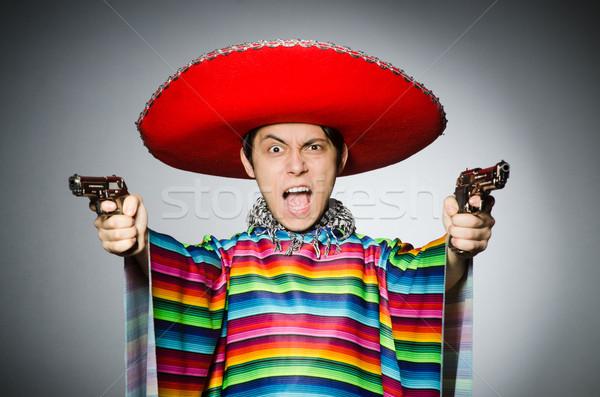 Adam canlı Meksika tabanca gri Stok fotoğraf © Elnur